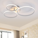 Multi Circle Semi Flush Mount Modern Chic Metallic 3/9/12 Heads LED Ceiling Fixture in Warm/White