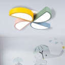 Multicolored Windmill Flush Light Metallic LED Ceiling Lamp for Children Bedroom
