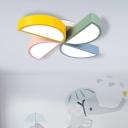 Multicolored Windmill Flush Light Metallic LED Ceiling Lamp for Children Bedroom