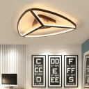 Ultrathin Lighting Fixture with Triangle Shade Minimalist Metal LED Flush Light in Brown