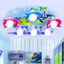 Nautical Dolphin Flushmount Amusement Park Wood 6 Heads Ceiling Flush Mount in Multi Color