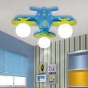 Blue Airplane Flush Mount with Globe Opal Glass Shade Triple Heads Ceiling Light for Youth