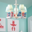 3/5 Heads Conical Chandelier with Boys and Girls Bedroom Fabric Shade Hanging Light Fixture in White