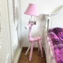 Single Light Bell Floor Light with Pink Deer Cartoon Style Girls Bedroom Fabric Shade Standing Light