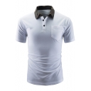 Unique Contrast Camo Collar Single Pocket Short Sleeve Men Stretch Slim Fit Polo