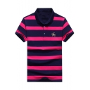 Men's Classic Striped Print Horse Logo Chest Short Sleeve Casual Golf Polo
