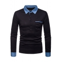 Contrast Collar Denim Patched One Pocket Long Sleeve Slim Fitted Polo Shirt for Men