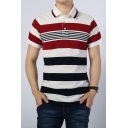 Men New Trendy Red Striped Print Short Sleeve Classic-Fit Polo Shirt