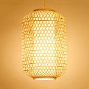 Single Head Cylinder Pendant Lighting Lodge Style Knit Hanging Lamp in Wood for Hallway Corridor