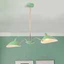 Mint Green Curved Arm Chandelier Contemporary 2 Lights Suspension Light with Metal Shade