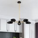 Sputnik Chandelier with Black Plastic Shade Post Modern 5 Lights Decorative Hanging Lamp