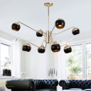 8 Lights Ball Suspension Light Modern Chic Metal Chandelier in Gold for Hotel Hall Living Room