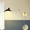 Duckbill Wall Mount Fixture with Adjustable Arm Nordic Style Metal 1 Head Sconce Light in Black
