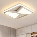 Minimalist Geometric Pattern LED Flush Mount Acrylic Lampshade Lighting Fixture in Warm/White
