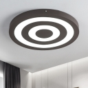 Modern Ultra Thin Round Flush Light with Target Design Metal LED Lighting Fixture in Brown