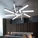 Silver Matchsticks Semi Flush Light Modern Design Acrylic 8-LED Ceiling Fixture for Corridor