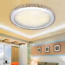 Circular LED Flush Mount with Amber Crystal Contemporary Ceiling Light for Living Room