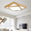Modernism Creative Rubik's Cube Flushmount Wood LED Indoor Lighting Fixture in Warm/White