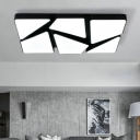 Black Rectangular LED Flush Light Fixture with Geometric Pattern Modern Concise Metallic Ceiling Lamp