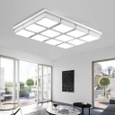 Modern Chic Cube Ceiling Lamp with Acrylic Shade Decorative Surface Mount LED Light in White