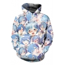 Ahegao 3D Cartoon Girl Pattern Anime Blue Pullover Hoodie