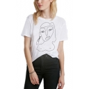 Abstract Figure Printed Short Sleeve Relaxed Fit White T-Shirt