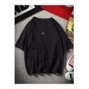 Simple Heart Patched Summer Cotton Oversized T-Shirt