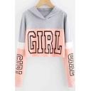Trendy Letter GIRL Colorblock Long Sleeve Cropped Hoodie