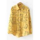 Vintage Cartoon Cat Pattern Long Sleeve Loose Fit Button Shirt