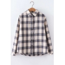 Classic Check Pattern Long Sleeve Button Down Blue Shirt