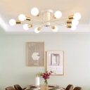 Modernism Industrial Sputnik Ceiling Lamp Metallic 8/10/11 Heads Semi Flush Mount in Gold Finish for Restaurant
