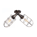 Tube Bulb Semi Flush Light Industrial Vintage Wrought Iron 2 Lights Ceiling Lamp in Aged Silver/Aged Bronze with Wire Guard