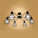 Black Caged Ceiling Flush Mount Industrial Metallic Multi Light Semi Flushmount for Living Room