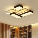 Oblong Acrylic Shade LED Ceiling Flush Simplicity Decorative Flush Light in Black and White