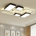 Contemporary Oblong Flush Light Fixture with Metal Canopy LED Ceiling Light in Black and White