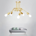 Gold Bare Bulb Suspension with Twisted Arm Vintage Retro Style Metal 5 Lights Light Fixture