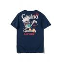 Street Fashion Cool Cartoon Poker Letter CASINO Printed Cotton Loose T-Shirt