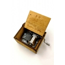 New Popular Letter CASTLE IN THE SKY Carved Retro Wooden Hand Cranked Khaki Music Box 6.4*5.2*4.2cm