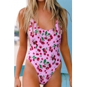 Summer Cute Cherry Pattern Scoop Neck Sleeveless Slim One-Piece Swimsuit
