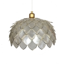 Pinecone Style Ceiling Pendant Light Designer Style White Shell Single Head Hanging Lamp