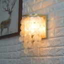 Sea Shell Shaded Wall Light Modernism Single Light Decorative Sconce Light in Chrome for Foyer
