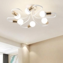 Metal Open Bulb Ceiling Light with Curved Arm Modernism 6 Bulbs Semi Flush Mount Light in Brass