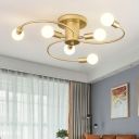 Gold Swirl Arm Lighting Fixture Modern Chic Wrought Iron 6-LED Semi Flush Light for Bedroom
