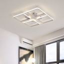 Metallic LED Flush Mount Light with Geometric Pattern Minimalist Ceiling Fixture in White