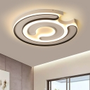 Silicon Gel C Shape Flush Light Modernism LED Flush Mount Lighting in Black and White