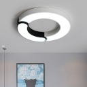 Donut Shape LED Flush Mount with Acrylic Shade Modern Design Lighting Fixture in Black and White