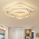 3 Pentagon Ceiling Light with Linear Canopy Modernism Metal LED Lighting Fixture in Warm/White