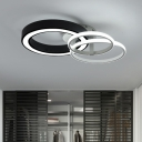 Multi-Layer LED Ceiling Lamp Modernism Metallic Flush Mount in Warm/White for Coffee Shop