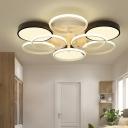 Multi Circle Flushmount with Acrylic Shade Contemporary LED Flush Mount Light in Warm/White
