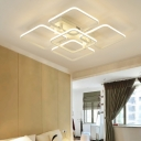 Square Surface Mount LED Light Minimalist Metal Multi Light Eye Protection Ceiling Lamp in White
